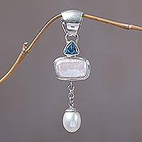 Cultured pearl and blue topaz pendant, 'Allegory' - Cultured Pearl and Blue Topaz Pendant