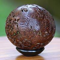 Coconut shell sculpture, 'Flying Dragon' - Hand Made Coconut Shell Sculpture