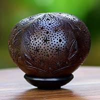 Coconut shell sculpture, 'Casuarina' - Coconut shell sculpture