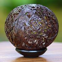 Coconut shell sculpture, 'Goddess Saraswati' - Hinduism Coconut Shell Sculpture