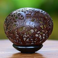 Coconut shell sculpture, 'Jungle Jaguars' - Coconut shell sculpture