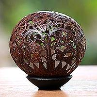 Coconut shell sculpture, 'Nyamplung Trees' - Coconut Shell Sculpture with Stand