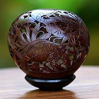 Coconut shell sculpture, 'Goldfish' - Coconut shell sculpture