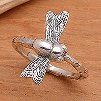 Sterling silver cocktail ring, 'Dragonfly Fortunes'