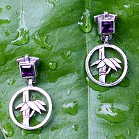 Amethyst floral earrings, 'Bamboo Muse' - Amethyst floral earrings