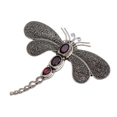 Garnet brooch pin pendant, 'Crimson Dragonfly' - Sterling Silver Garnet Brooch Pin