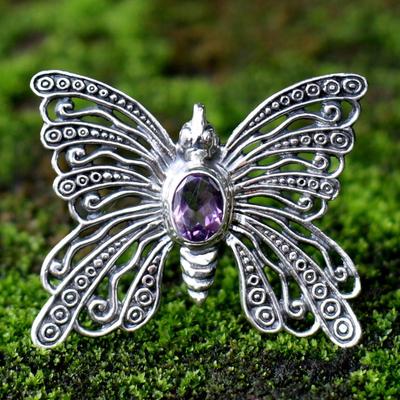 Amethyst brooch pin pendant, 'Bright Butterfly' - Amethyst Sterling Silver Brooch Pin