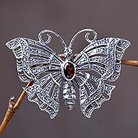 Garnet brooch pin pendant, 'Crimson Butterfly' - Garnet Sterling Silver Brooch Pin