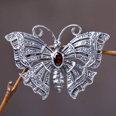 Garnet brooch pin pendant, 'Crimson Butterfly' - Garnet Sterling Silver Brooch Pin