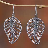 Sterling silver dangle earrings, 'Nature' - Sterling Silver Dangle Leaf Earrings
