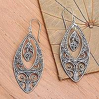 Sterling silver dangle earrings, 'Lace' - Sterling silver dangle earrings