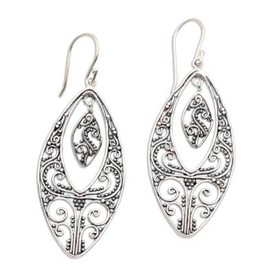 Sterling silver dangle earrings, 'Lace' - Sterling silver dangle earrings