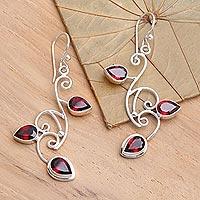 Garnet floral earrings, 'Dewdrop Vines'