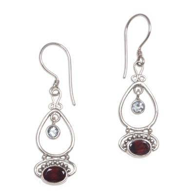 Blue topaz and garnet dangle earrings