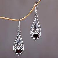 Garnet dangle earrings, 'Center of Attention' - Sterling Silver and Garnet Dangle Earrings
