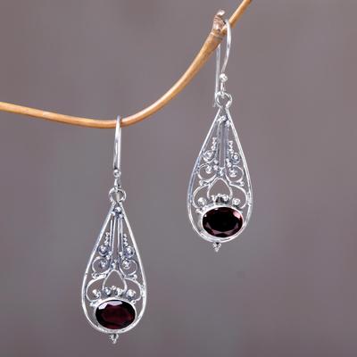 Garnet dangle earrings, 'Center of Attention' - Sterling Silver and Garnet Dangle Earrings