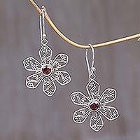 Garnet flower earrings, 'Poinsettia' - Garnet flower earrings