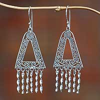 Sterling silver chandelier earrings, 'Twist' - Fair Trade Sterling Silver Chandelier Earrings