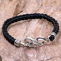 Men's sterling silver and leather braided bracelet, 'Cobra'