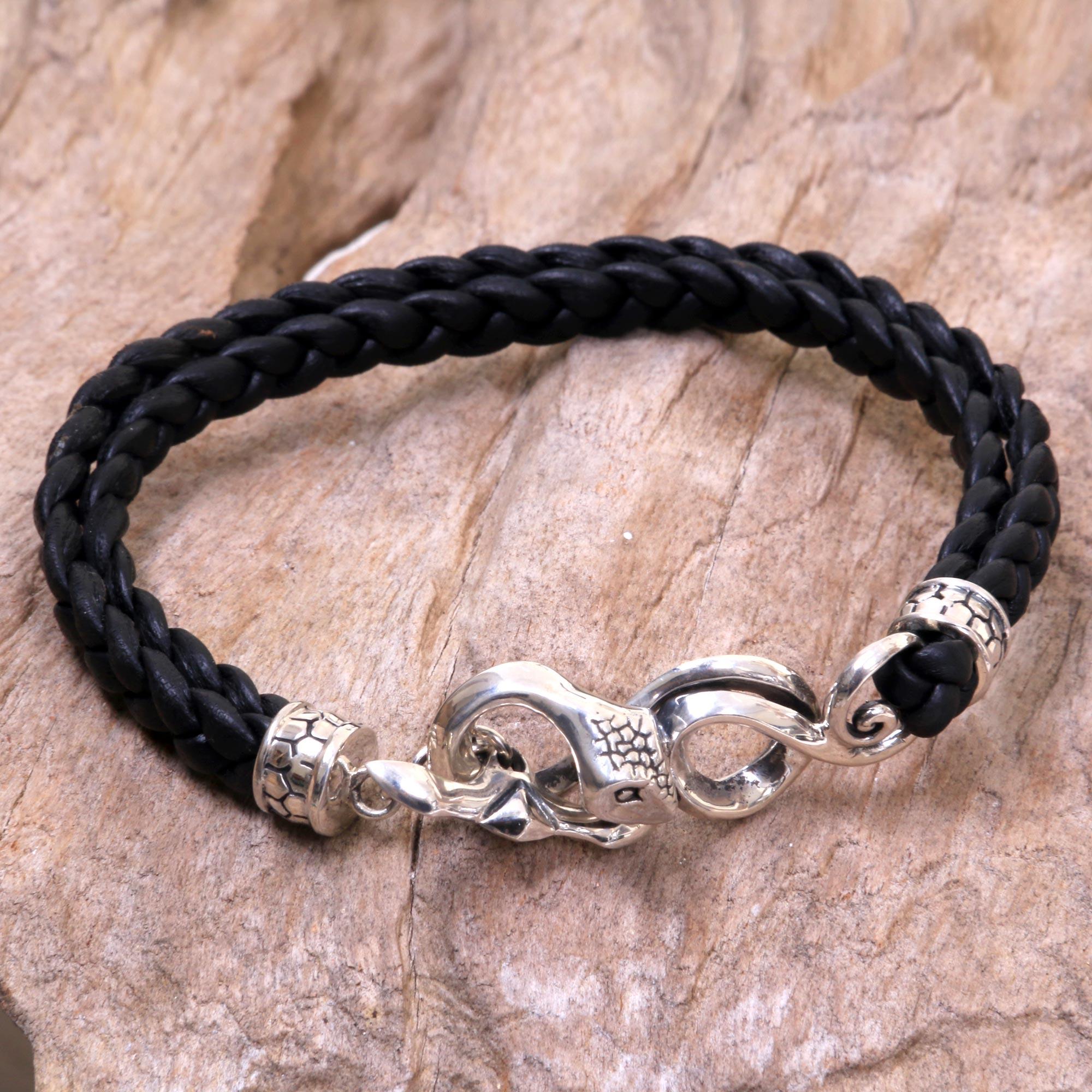Men\'s Leather and Sterling Silver Snake Bracelet - Cobra | NOVICA