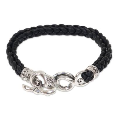 Men's sterling silver and leather braided bracelet, 'Cobra' - Men's Leather and Sterling Silver Snake Bracelet