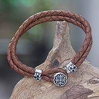 Sterling silver and leather flower bracelet, 'Brown Lotus'