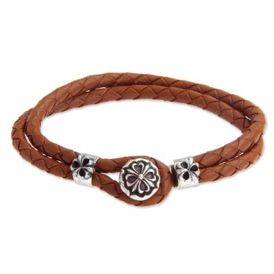 Sterling silver and leather flower bracelet, 'Brown Lotus' - Artisan Crafted Floral Leather Braided Bracelet
