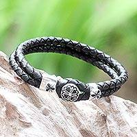 Sterling silver and leather flower bracelet, 'Black Lotus' - Braided Leather and Sterling Silver Bracelet