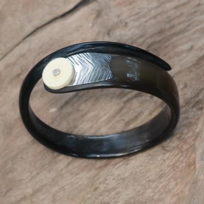 Polished Cow Bone And Horn Bangle Bracelet Seagull Carved