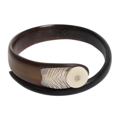Carved Horn and Bone Bangle Bracelet