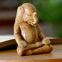 Wood sculpture, 'Elephant Meditates' - Hand Carved Wood Sculpture