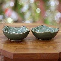 Ceramic bowls, 'Betel Leaf' (pair) - Indonesian Green Ceramic Bowls (Pair)