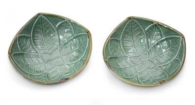 Ceramic bowls, 'Betel Leaf' (pair) - Indonesian Green Ceramic Bowls (Pair)