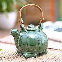 Ceramic teapot, 'Mother Sea Turtle' - Green Hand Made Teapot