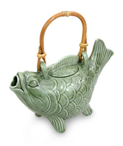 Ceramic teapot, 'Lucky Koi' - Ceramic Fish Teapot from Indonesia