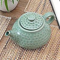 Ceramic teapot, 'Rainforest' - Artisan Crafted Ceramic Teapot