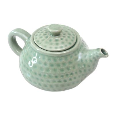 Ceramic teapot, 'Rainforest' - Artisan Crafted Ceramic Teapot