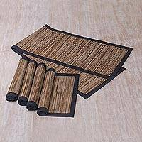 Natural fibers table runner and placemats, 'Rain' (set for 4) - Indonesian Natural Fiber Table Linen Set