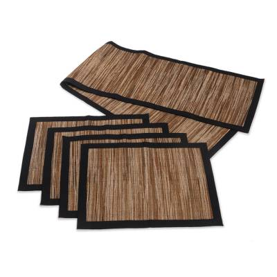 Natural fibers table runner and placemats, 'Rain' (set for 4) - Natural fibre Table Runner and Placemats (Set for 4)