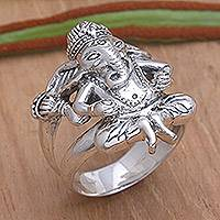 Men's sterling silver ring, 'Lord Ganesha' - Men's Sterling Silver Hindu Ring