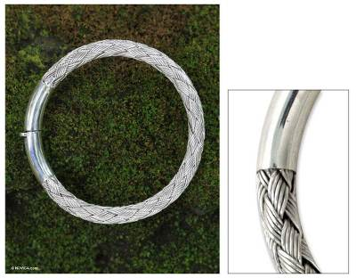 Sterling silver bangle bracelet, 'Balinese Weavings' - Women's Sterling Silver Bangle Bracelet from Indonesia