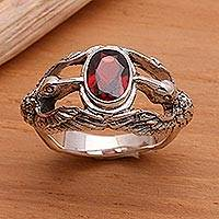 Men's garnet ring, 'Gift of Peace' - Men's Indonesian Sterling Silver and Garnet Ring