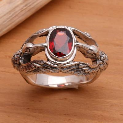 Men's garnet ring, 'Gift of Peace' - Men's Indonesian Sterling Silver and Garnet Ring