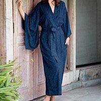 Rayon batik robe, 'Indigo Orchids' - Blue Violet Women's Batik Robe from Indonesia