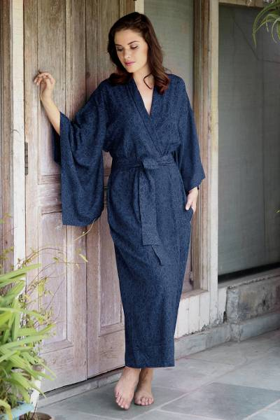 Blue Violet Women s Batik Robe from Indonesia - Kimono of Blue ... 02610ec37