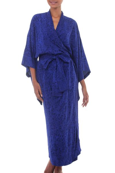 Rayon batik robe, 'Kimono of Blue-Violet Orchids' - Blue Violet Women's Batik Robe from Indonesia