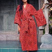 Long cotton batik robe, 'Red Floral Kimono' - Cotton batik robe