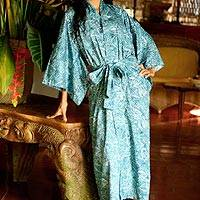 Cotton batik robe, 'Blue Forest' - Artisan Crafted Long Batik Cotton Robe for Women