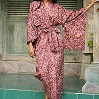 Cotton batik robe, 'Earth Dancer'