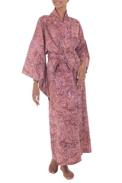 Cotton batik robe, 'Earth Dancer' - Handmade 100% Cotton Robe in Red Pink Tones from Indonesia